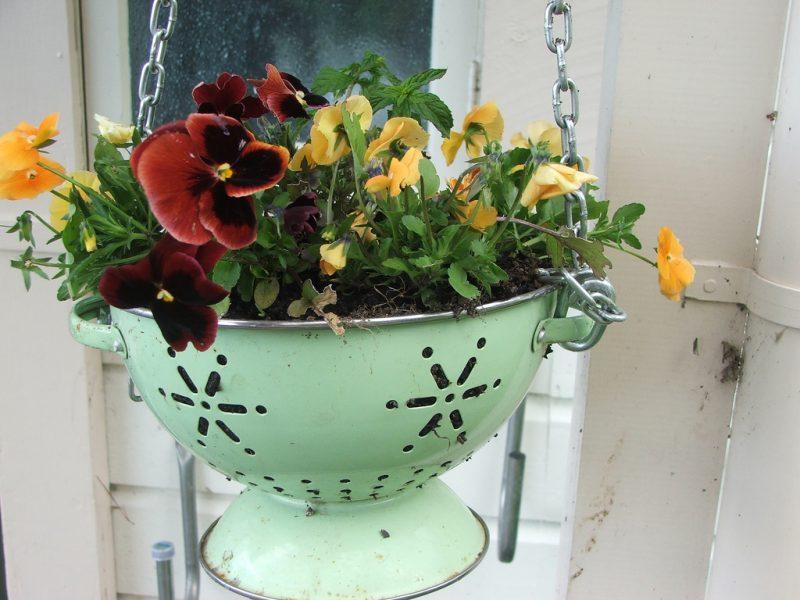 colander basket for upcycled garden project idea