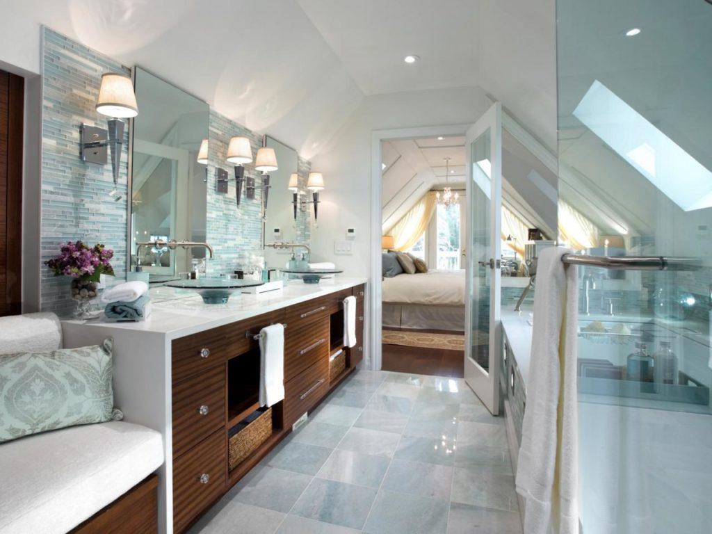 modern and spacious attic bathroom